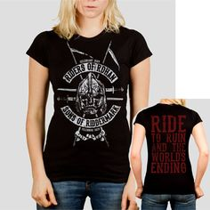 Riders of Rohan - Tolkien / Lord of the Rings inspired Ladies t-shirt screen printed by hand PLN) by GrumpyGeeks Shirt Price, Geek Chic, Short Sleeve Tee, Lady, Just In Case, Cool Outfits, T Shirts For Women, Tees, My Style