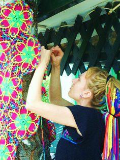 Psychedelic Glow In The Dark Yellow Flowers Crochet Tree #crochet #tree #rainbow #flower #yarnbombing #dreads