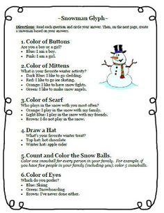 Snowman Glyph Writing Activity FREEBIE