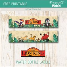 When it's time for all the little cubs to make their way to the watering hole, these free printable Lion King water bottle labels will be useful in decorating bottled drinks to match your Lion King themed birthday party. Lion King Theme, Lion King Party, Lion King 1, Lion King Birthday, Happy Birthday Printable, Lion King Baby Shower, Le Roi Lion, Birthday Party Themes, 3rd Birthday