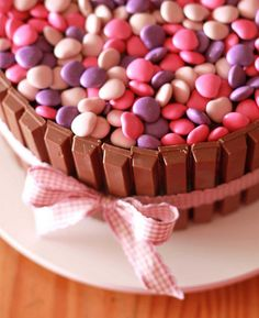 Love the pink version of the smarties cake, great simply idea for a Birthday cake #Pink #Girl #Chocolate #Vanilla #cake #Simple #Birthday #cake #Easy #baking, #decorating #tips and #ideas for #cakes