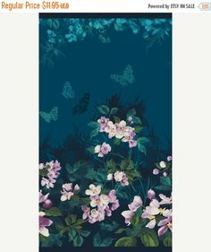 BLACK FRIDAY SALE Mystic Garden ~Teal Panel~Sold by the Panel~Cotton Fabric, Quilt,by Northcott Fast Shipping,F701