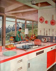 American Home mag 1958....I love the layout with kitchen and living room all in one large room!