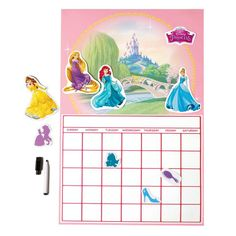 "Stay organized in royal style with this 22"" H x 14 1/2"" W dry-erase calendar. Includes a marker with eraser and 9 removable decals. Ages 3 and up. Paper, vinyl.©Disney"