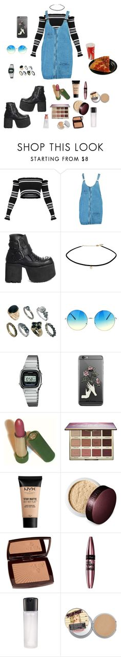 """""""Blues blues blues"""" by shellygeigel ❤ liked on Polyvore featuring Boohoo, UNIF, ASOS, Casio, Avon, tarte, NYX, Laura Mercier, Lancôme and Maybelline"""