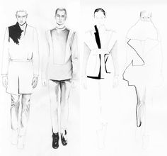 Fashion Sketchbook - fashion design illustrations for a unisex collection; fashion drawing; fashion portfolio // Rad Hourani
