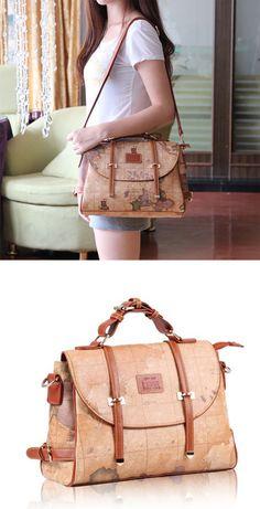 Retro Unique World Map Handbag&Messenger bags is so cute bag ! #handbag #world #map #retro #fashion