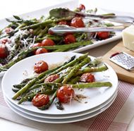 Roasted Asparagus and Cherry Tomato Salad with White Truffle Vinaigrette