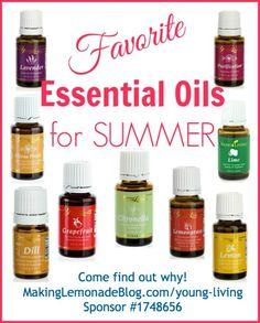 Favorite Essential Oils for Summer-- battle bugs, bug bites, sunburn, poison ivy, and weight loss naturally! #essentialoils #youngliving makinglemonadeblog.com