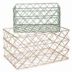 URBAN GARDEN 2 green and gold-coloured metal wire baskets