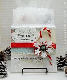 SRM Stickers - SRM Stickers - Love this crafty decorated glassine bag from @Sarah Chintomby Martina Parker using SRM Sticker Sentiments, Happy Holidays design.