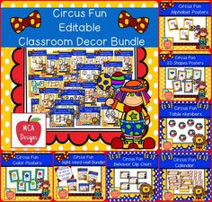 Check out my Circus Fun Editable Classroom Décor Bundle features all you need to have a fresh new look for your classroom this fall! Check out the preview for a quick look at this colorful theme.   574 pages   My Circus Fun Editable Classroom Décor Bundle features my ENTIRE Circus Fun collection!  #mca3designs #tpt #teacherspayteachers #classroomdecor #classroomtheme #classroomorganization #backtoschool #editable #tptbundle