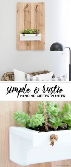 Build this Rustic Hanging Gutter Planter in less than 20 minutes! Easy and great for indoor use. livelaughrowe.com  #DIHWorkshop #ad