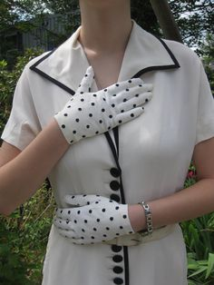 Paul Parnes Dress with Polka Dot Gloves c by vintagexcitement, $135.00
