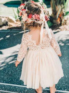 Girls Loralai Light Champagne Lace Back Dress - Arabella And Rose Lace Back Dresses, Dress Backs, Girls Dresses, Luxury Wedding Dress, Wedding Gowns, Baby Girl Wedding Dress, Bouquet Wedding, Wedding Nails, Wedding Reception