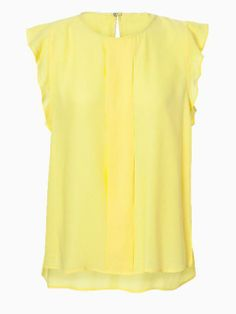 Yellow Chiffon T-shirt With Ruffle Sleeve | Choies