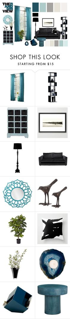 """teal vs black • living room"" by by-jwp ❤ liked on Polyvore featuring interior, interiors, interior design, home, home decor, interior decorating, Sun Zero, Threshold, Dot & Bo and Nearly Natural"
