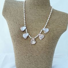 Mother of pearl necklace - pink mother of pear - fan necklace - pink shell…