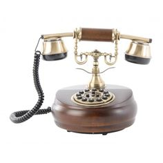 Teléfono antiguo redondo madera