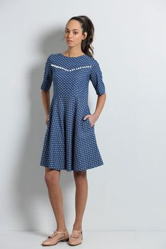 Party dress, blue dress, womens Midi dress, Formal dress, Cocktail dress, 3/4 sleeve dress, Elegant dress, heart print, bridesmaid, denim