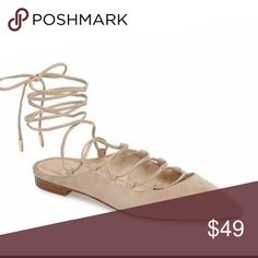 Marc Fisher Sabrina Lace up Flat Cut from soft suede, this pointy-toe flat laces dramatically up the instep and above the ankle to tie in a pert bow. Wraparound ankle lacing with tie closure Leather upper/synthetic lining and sole Imported Women's Shoes Marc Fisher Shoes Flats & Loafers