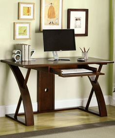 Take a look at this Cherry Leonardo Computer Desk by Furniture of America on #zulily today! $470 !!