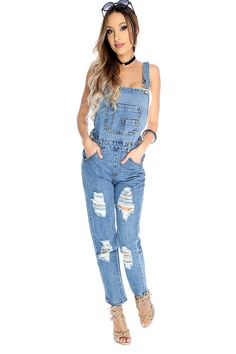 Look sexy rocking these overalls! Features; bold blue denim color, panel , high polished button detailing, side button closure,front & back pockets, finished off with fitted wear. 100% Cotton.