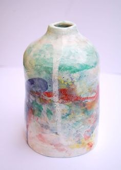 Colorful stoneware teal and red vase Caribbean by EstherGriffith, $98.00