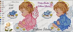 Anjinhos rosa e azul. Cross Stitch Owl, Cross Stitch Angels, Cross Stitch For Kids, Beaded Cross Stitch, Cross Stitching, Cross Stitch Patterns, Hand Embroidery Designs, Christmas Cross, Square Quilt