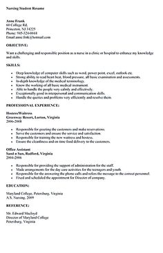 sample nursing student resume nursing student resume must contains relevant skills experience and also educational
