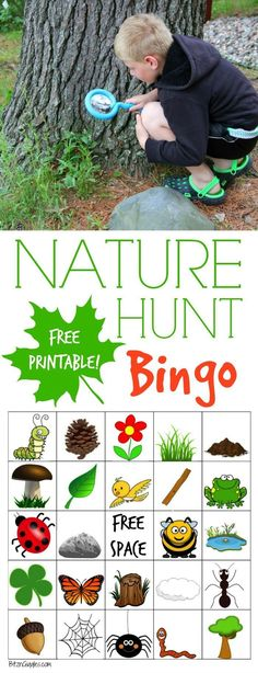 Nature Hunt Bingo - A super fun outdoor game for kids that encourages exploration of the world around them! Baby & Kids Stuff Nature Hunt Bingo - A super fun outdoor game for kids that encourages exploration of the world around them! Educational Activities For Kids, Nature Activities, Party Activities, Party Games, Summer Camp Activities, Children Activities, Kids Learning, Family Activities, Educational Crafts
