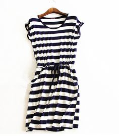 2016 new style summer dress Casual Stripe women summer dress sleeveless dresses solid color