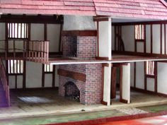 Tudor inside - all made from mount/matt card and wood stripes Micro Scale, N Scale, Tiny World, Barbie Dream House, Diy Dollhouse, Cool Toys, Miniatures, Cottage, Wood