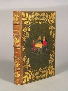 Old Christmas, Washington Irving, . . London: 1876.  Illustrated by Ralph Caldecott. 8vo. Full green levant gilt by Kelliegram, morocco onlays to upper and lower covers depicting vignettes after Caldecott illustrations, all edges gilt.