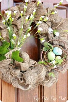 Easy and cheap burlap wreath - i don't usually go in for stuff like this, but i see possibilities. cute. :)