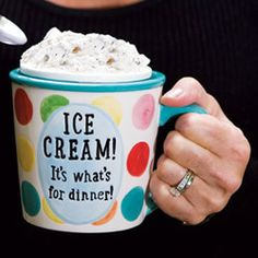 Giant Ceramic Ice Cream Mug.  There is actually a paintable mug we carry that holds a pint of ice cream.