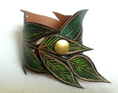 Leaf Bracelet, Gold Leaf Cuff, Faux Leather Hand Painted, Handmade Jewelry, Leaf Jewelry, Leather Cuff, Gifts for her