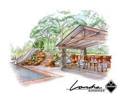 Backyard Pool Landscape Design Illustration by Lanoha Nurseries Omaha, via Flickr