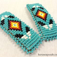 Turquoise Beaded Hair Barrettes