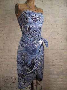50s inspired 80s Strapless Floral Sarong Dress by ChelseaGirlNYC, $60.00