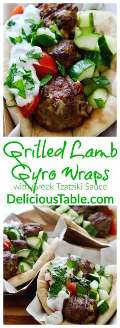 Grilled Lamb Gyro Wraps and Greek Tzatziki Sauce are made in minutes on the grill. A tasty lamb recipe, gyro recipe, and summer recipe! {sponsored} #gyro #lambrecipe #grillrecipes #summerrecipes