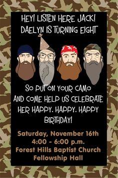 Duck dynasty camo digital birthday invitation by personlizedart duck dynasty camo digital birthday invitation by personlizedart 1000 printables pinterest duck dynasty and birthdays filmwisefo