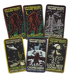 6 PATCH PACK (ALL CHARACTERS: Sasquatch in brown and green edges)    Were now offering our popular Cryptozoology Tracking Society designs in