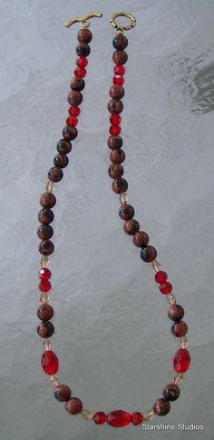 "18"" beaded necklace. Goldstone, glass & Swarovski crystals."