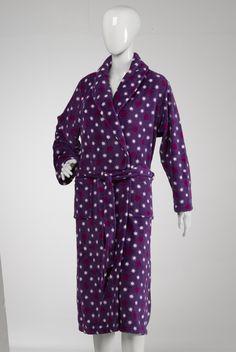 ... Star Print Dressing Gown Shawl Collar Coral Fleece House Coat | eBay