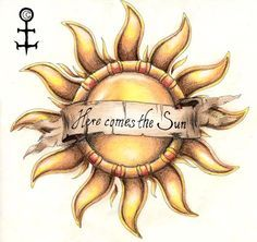 """Not this tattoo, but """"here comes the sun"""" through the middle of 2 halves of a sun (not inside the sun) Sun Tattoos, Cover Up Tattoos, Flower Tattoos, Body Art Tattoos, Tatoos, Swallow Tattoo, Bee Tattoo, Tattoo You, Rib Tattoo Quotes"""