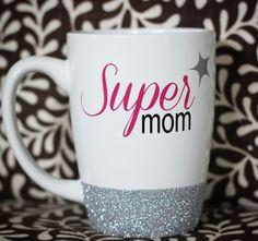 Super Mom Glitter Coffee Mug                              …