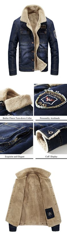 Outdoor Casual Outfit: Multi Pockets Denim Jackets for Men