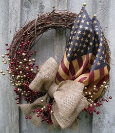 Americana Tribute Wreath with Tea Stained
