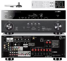 A good stereo receiver should have surround sound and built-in Bluetooth. Home Theatre Sound, Home Theater Setup, Home Theater Rooms, Home Theater Speaker System, Home Theater Receiver, Recording Studio Home, Home Speakers, Home Tech, Dolby Atmos